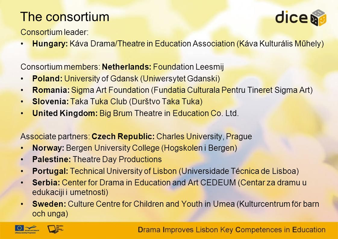 The consortium Consortium leader: Hungary: Káva Drama/Theatre in Education Association (Káva Kulturális Műhely) Consortium members: Netherlands: Foundation Leesmij Poland: University of Gdansk (Uniwersytet Gdanski) Romania: Sigma Art Foundation (Fundatia Culturala Pentru Tineret Sigma Art) Slovenia: Taka Tuka Club (Durštvo Taka Tuka) United Kingdom: Big Brum Theatre in Education Co.