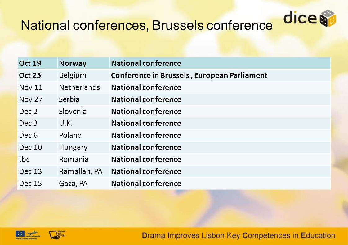 National conferences, Brussels conference Oct 19NorwayNational conference Oct 25BelgiumConference in Brussels, European Parliament Nov 11NetherlandsNa