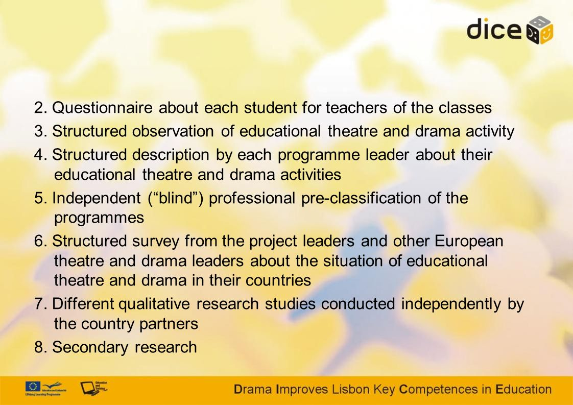 2. Questionnaire about each student for teachers of the classes 3. Structured observation of educational theatre and drama activity 4. Structured desc