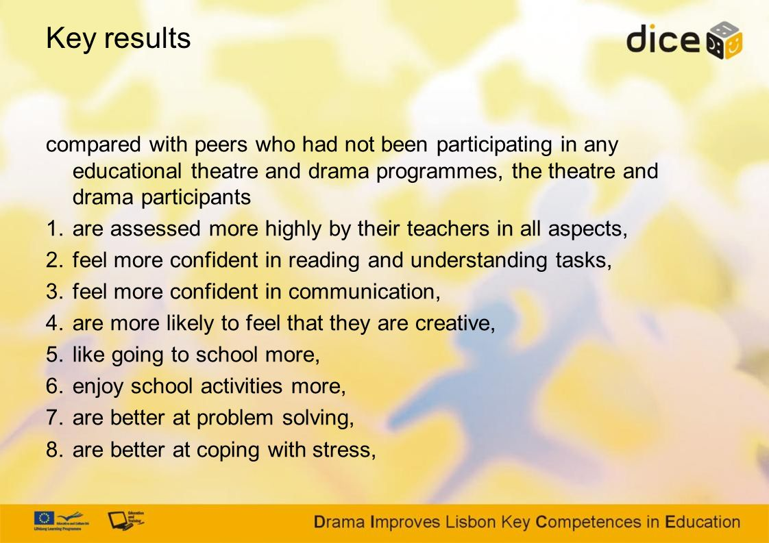 compared with peers who had not been participating in any educational theatre and drama programmes, the theatre and drama participants 1.are assessed