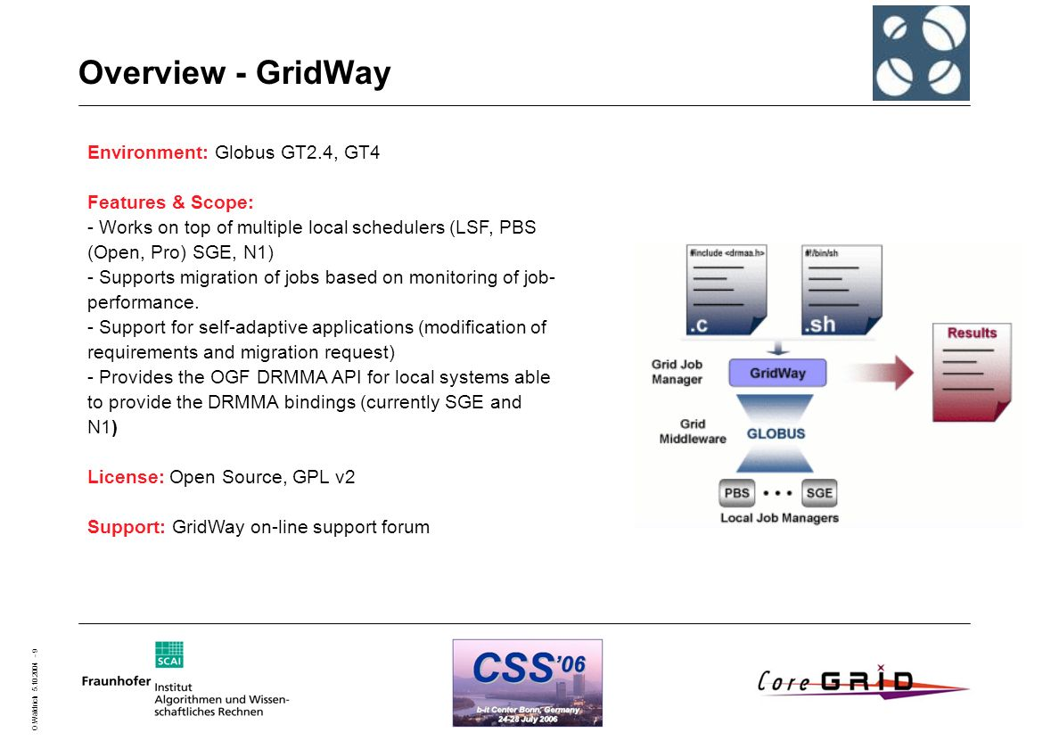 O.Wäldrich 5.10.2004 - 9 Overview - GridWay Environment: Globus GT2.4, GT4 Features & Scope: - Works on top of multiple local schedulers (LSF, PBS (Op