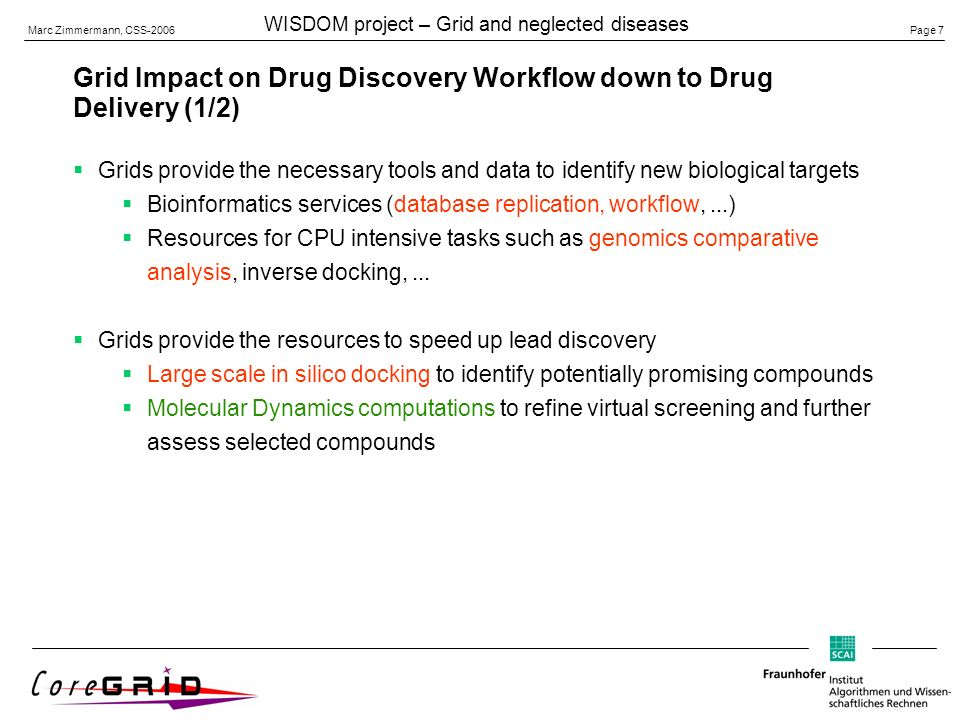 Page 7 Marc Zimmermann, CSS-2006 WISDOM project – Grid and neglected diseases Grid Impact on Drug Discovery Workflow down to Drug Delivery (1/2) Grids provide the necessary tools and data to identify new biological targets Bioinformatics services (database replication, workflow,...) Resources for CPU intensive tasks such as genomics comparative analysis, inverse docking,...