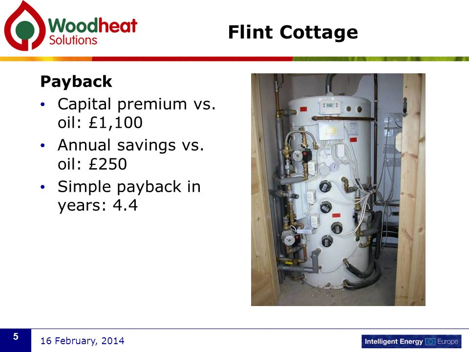 Flint Cottage Payback Capital premium vs. oil: £1,100 Annual savings vs.
