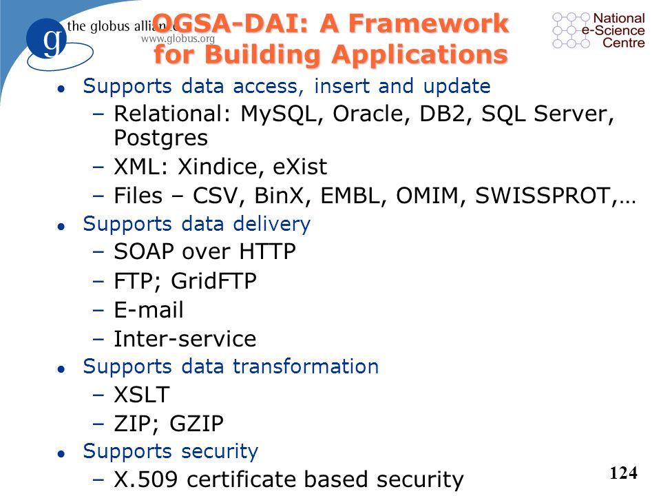 123 MySQL OGSA-DAI service Engine SQLQuery JDBC SQL JDBC SQL JDBC SQL JDBC SQL JDBC Multiple SQL GDS SQLQuery Extensibility Example