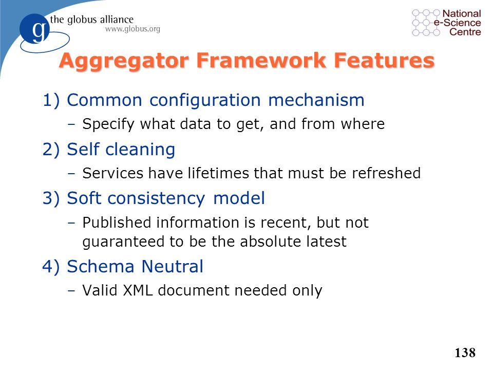 137 Common Aggregator Framework l Basic framework for higher-level functions –Subscribe to Information Provider(s) –Do some action –Present standard i