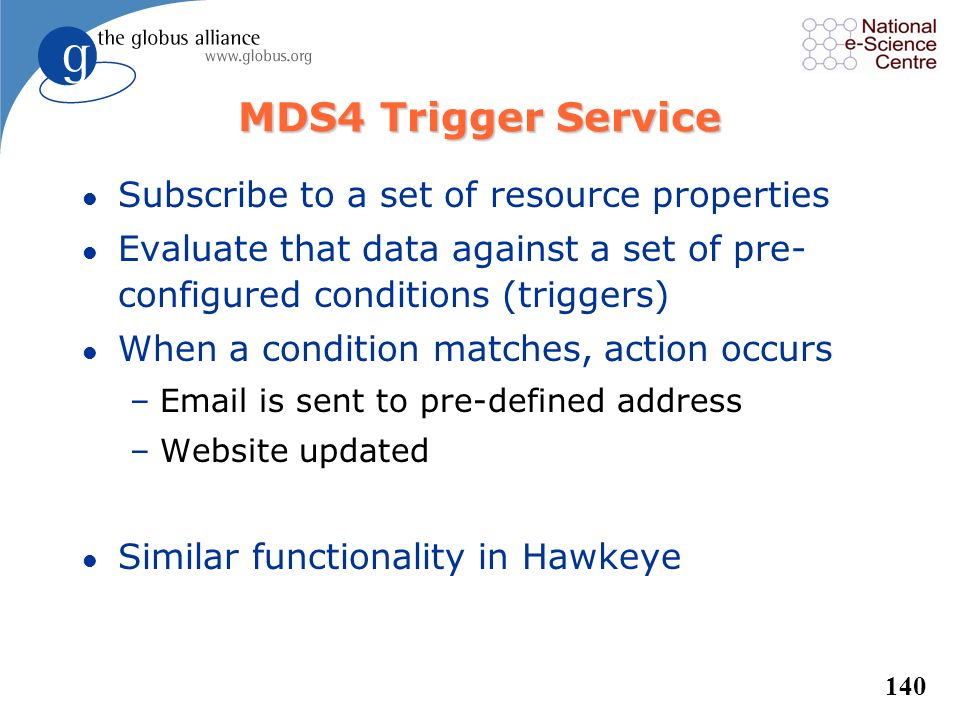 139 MDS4 Index Service l Index Service is both registry and cache –Datatype and data provider info, like a registry (UDDI) –Last value of data, like a