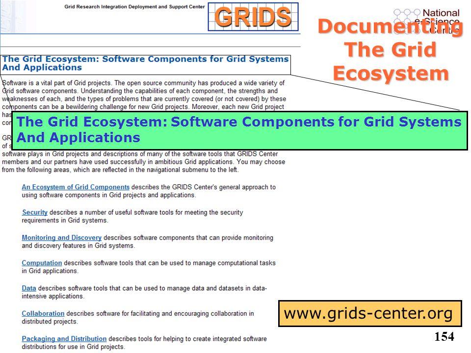 153 Example Solutions l Portal-based User Reg. System (PURSE) l VO Management Registration Service l Service Monitoring Service l TeraGrid TGCP Tool l