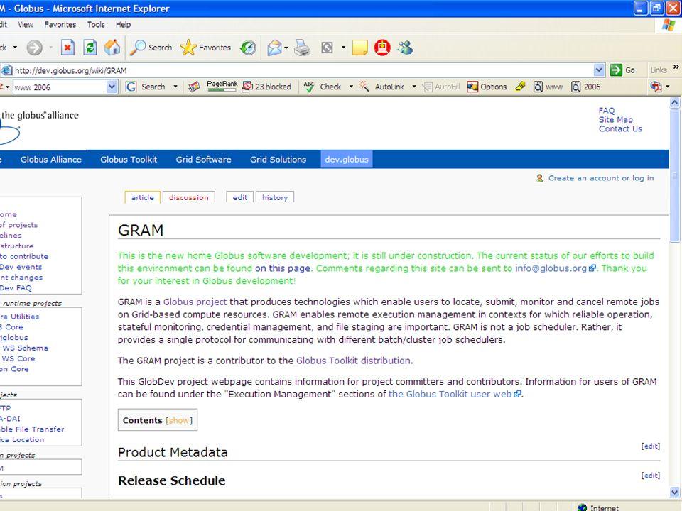 172 Sample l http://dev.globus.org/wiki/GRAM