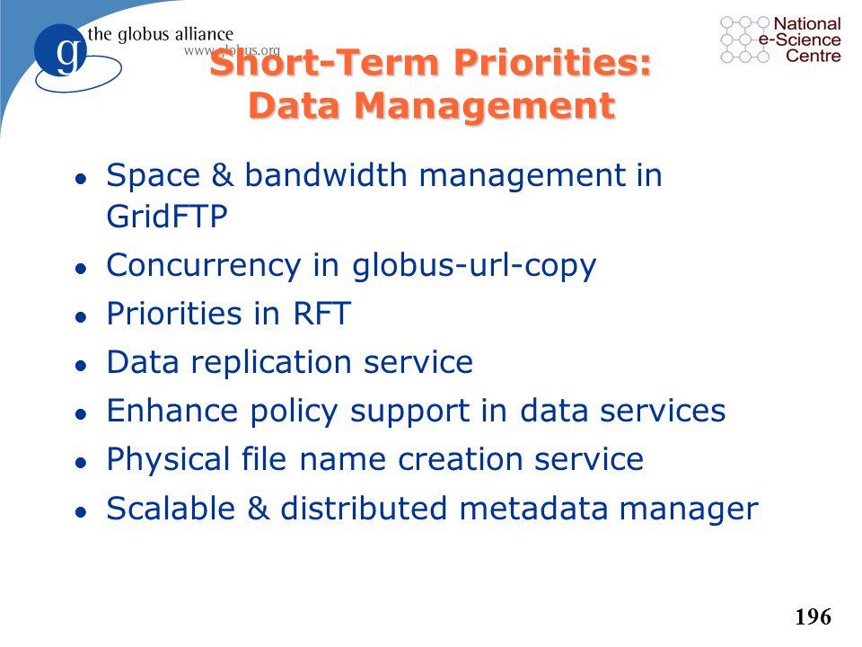 195 Short-Term Priorities: Security l Improve GSI error reporting & diagnostics l Secure password, one-time password, Kerberos support for initial log