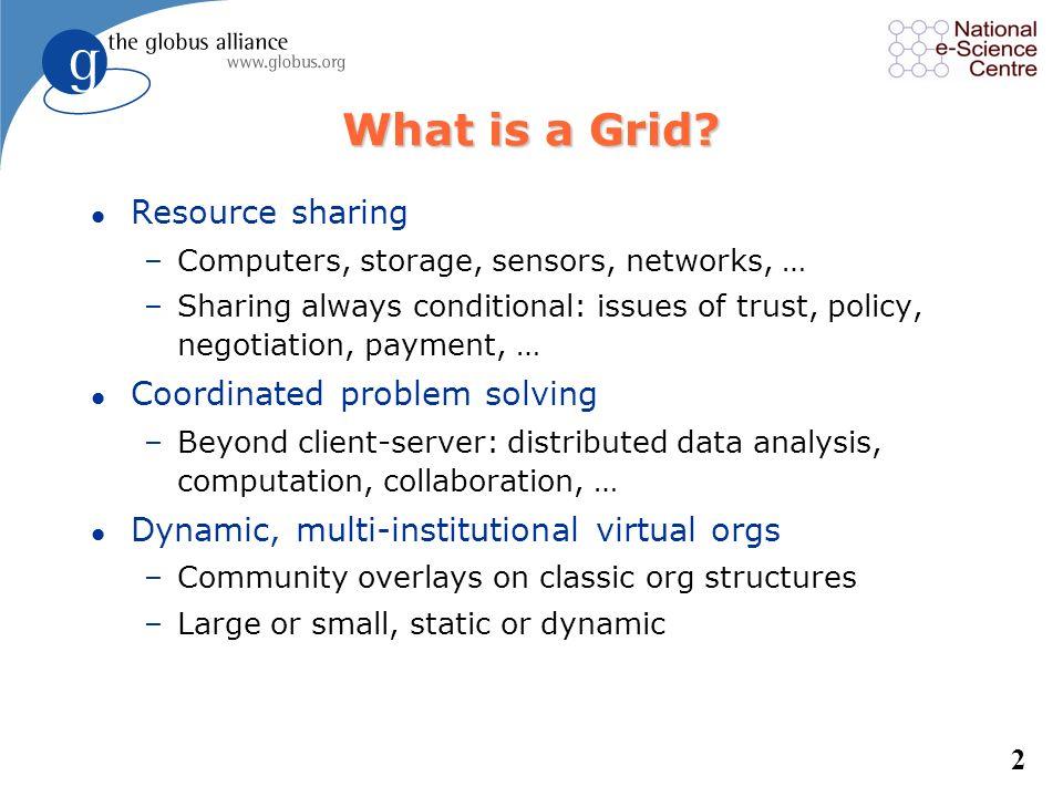 Grid Computing and the Globus Toolkit Jennifer M. Schopf Argonne National Lab National eScience Centre http://www.mcs.anl.gov/~jms/Talks/