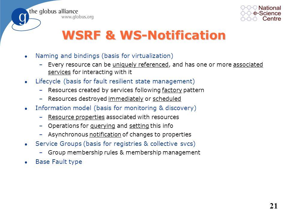 20 GT Protocols l Web service protocols –WSDL, SOAP –WS Addressing, WSRF, WSN –WS Security, SAML, XACML –WS-Interoperability profile l Non Web service