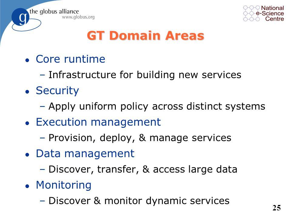 24 Globus is a Tool l A Grid development environment –Develop new OGSA-compliant Web Services –Develop applications using Java or C/C++ Grid APIs –Sec