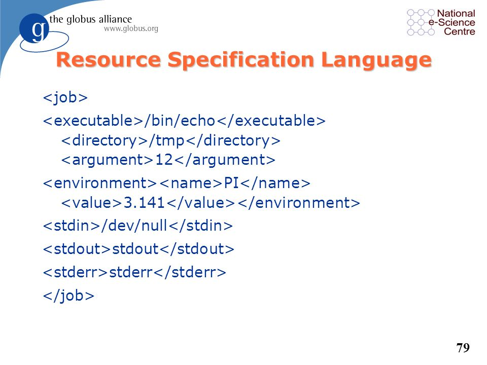78 Resource Specification Language l For more complicated jobs, well use RSL to specify the job /bin/echo this is an example_string Globus was here ${