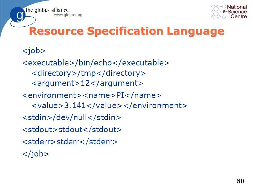 79 Resource Specification Language /bin/echo /tmp 12 PI 3.141 /dev/null stdout stderr