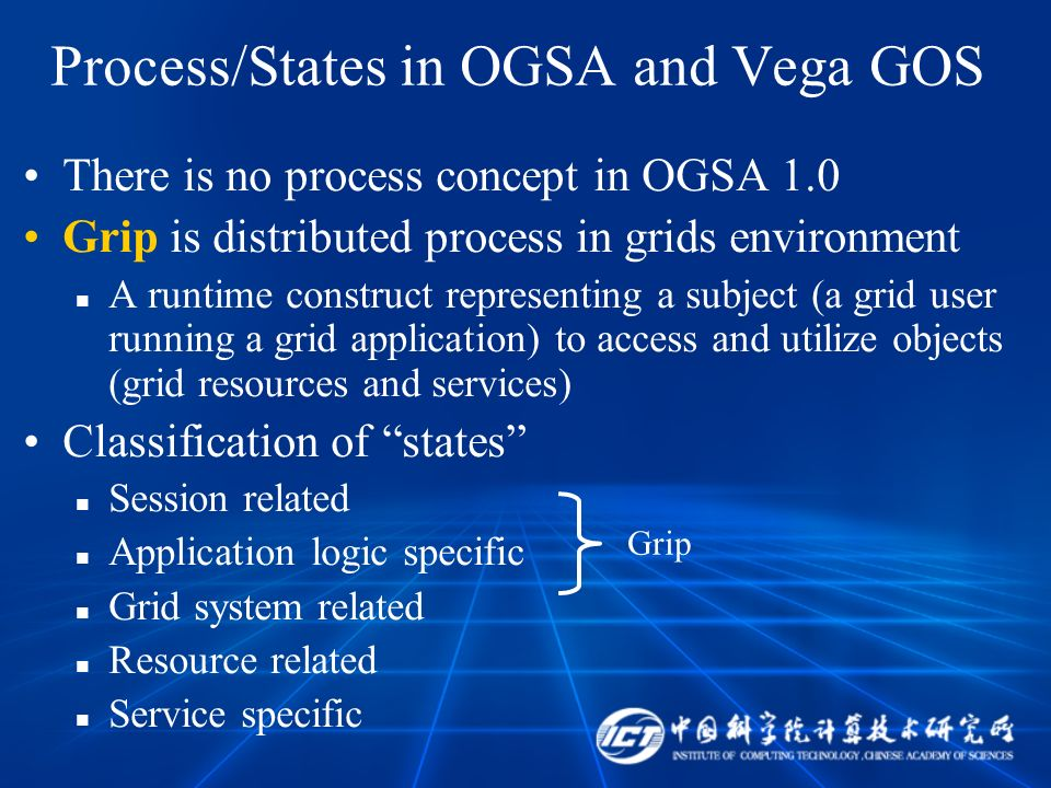 Process/States in OGSA and Vega GOS There is no process concept in OGSA 1.0 Grip is distributed process in grids environment A runtime construct representing a subject (a grid user running a grid application) to access and utilize objects (grid resources and services) Classification of states Session related Application logic specific Grid system related Resource related Service specific Grip