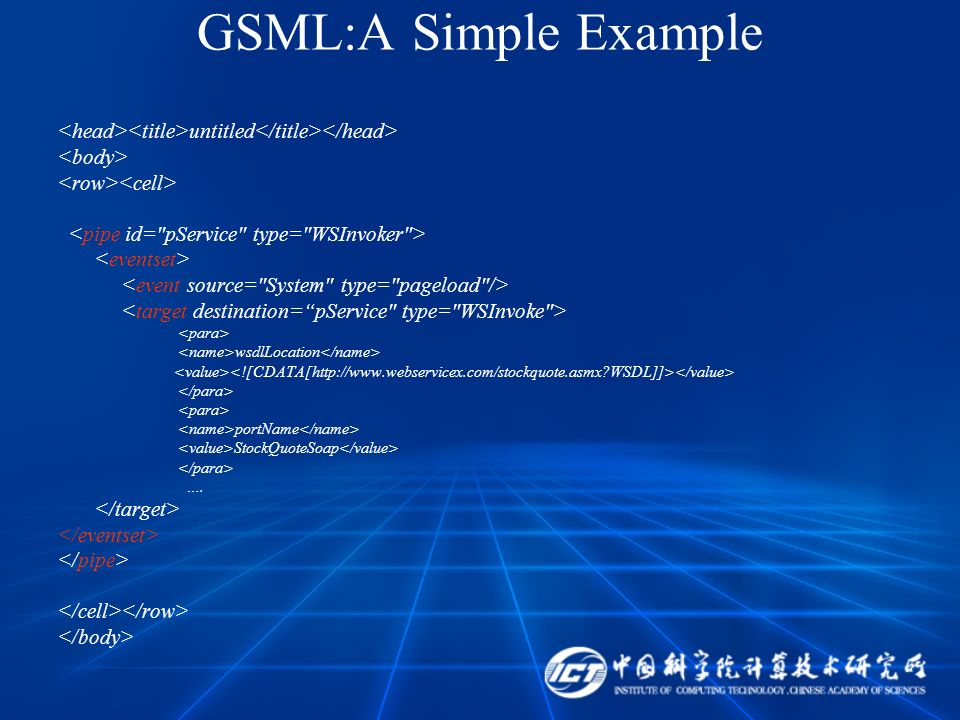 GSML:A Simple Example untitled wsdlLocation portName StockQuoteSoap ….