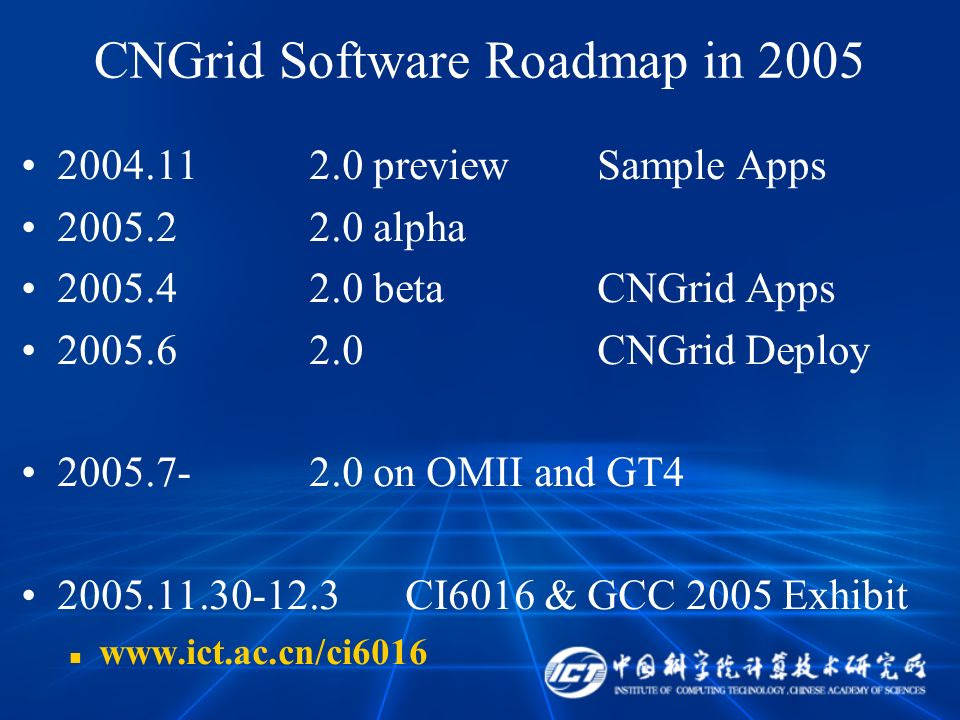 CNGrid Software Roadmap in 2005 2004.112.0 previewSample Apps 2005.22.0 alpha 2005.42.0 betaCNGrid Apps 2005.62.0CNGrid Deploy 2005.7-2.0 on OMII and GT4 2005.11.30-12.3CI6016 & GCC 2005 Exhibit www.ict.ac.cn/ci6016