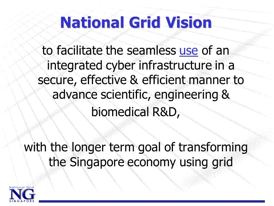 National Grid Vision to facilitate the seamless use of an integrated cyber infrastructure in a secure, effective & efficient manner to advance scienti