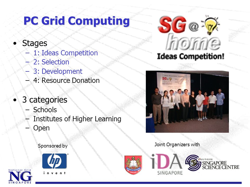 Enterprise Grid for SMEs Objectives –Create awareness in SMEs –Provide assistance & guidance to SMEs to harness Grid Computing to exploit internal compute resources Partners –MegaMedias digital media hub (dmh) –TBA