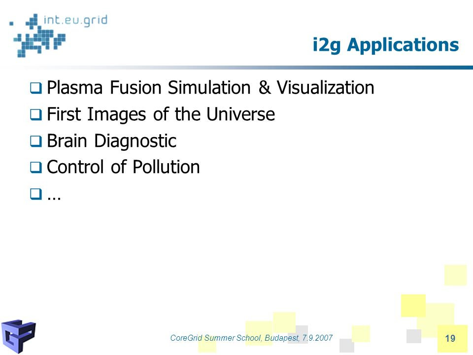 CoreGrid Summer School, Budapest, 7.9.2007 19 i2g Applications Plasma Fusion Simulation & Visualization First Images of the Universe Brain Diagnostic Control of Pollution …