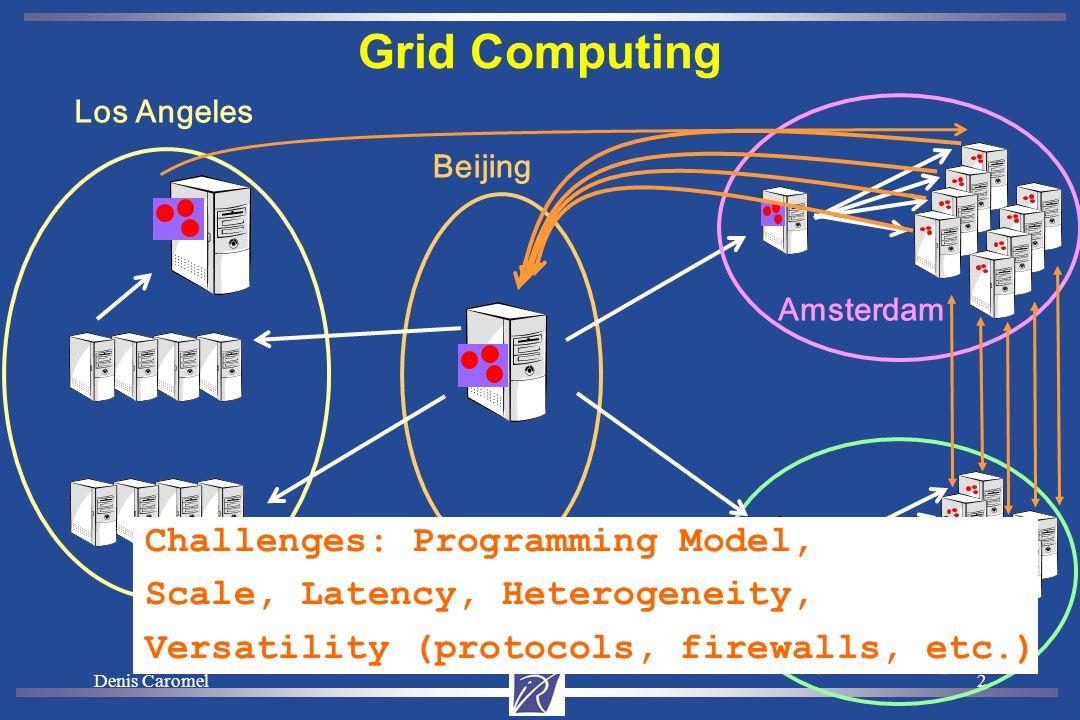 Denis Caromel2 Grid Computing Los Angeles Beijing Amsterdam Sophia Antipolis Challenges: Programming Model, Scale, Latency, Heterogeneity, Versatility (protocols, firewalls, etc.)