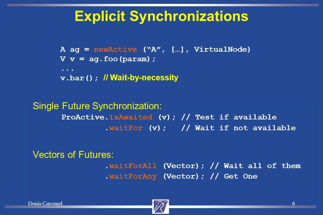 Denis Caromel6 Explicit Synchronizations Single Future Synchronization: ProActive.isAwaited (v); // Test if available.waitFor (v); // Wait if not available Vectors of Futures:.waitForAll (Vector); // Wait all of them.waitForAny (Vector); // Get One A ag = newActive (A, […], VirtualNode) V v = ag.foo(param);...