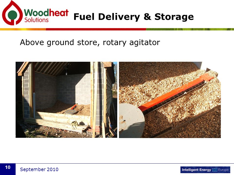 September 2010 10 Fuel Delivery & Storage Above ground store, rotary agitator