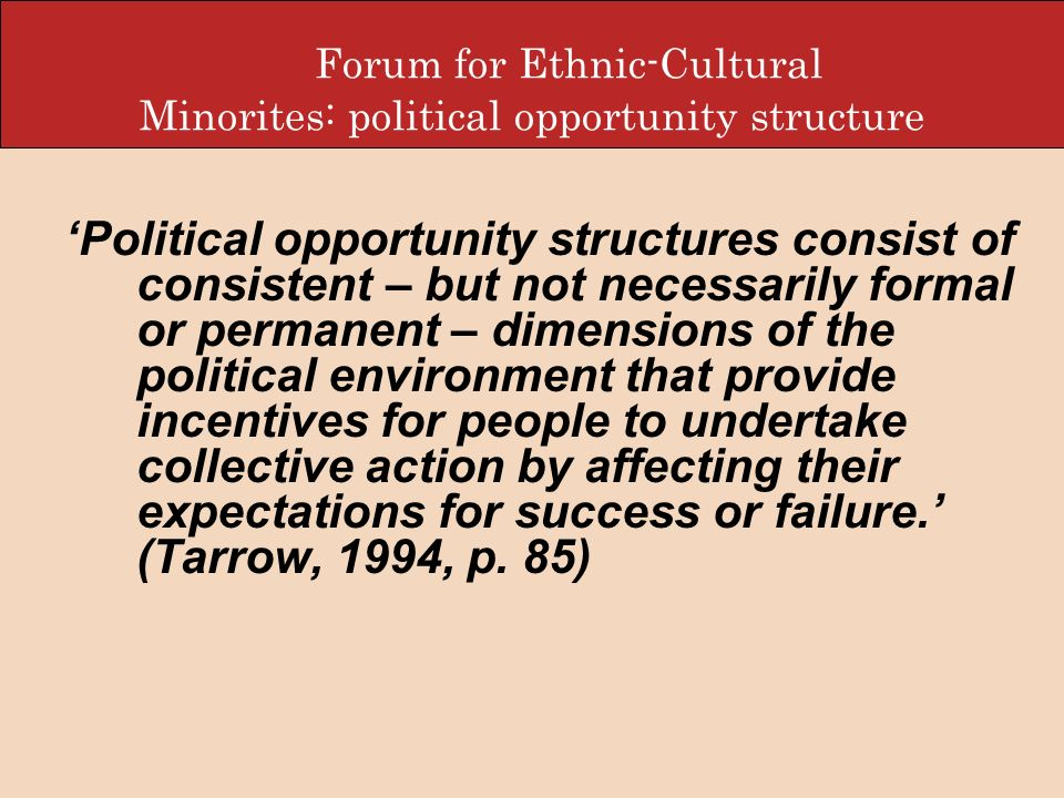 Forum for Ethnic-Cultural Minorites: political opportunity structure Political opportunity structures consist of consistent – but not necessarily form