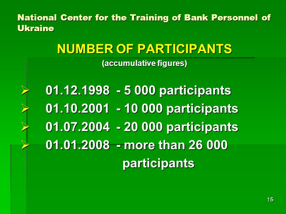 15 National Center for the Training of Bank Personnel of Ukraine NUMBER OF PARTICIPANTS (accumulative figures) participants participants participants participants participants participants more than more than participants participants