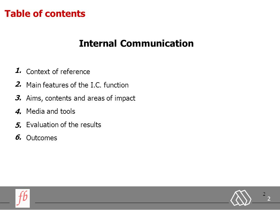 2 2 2 Context of reference Main features of the I.C.