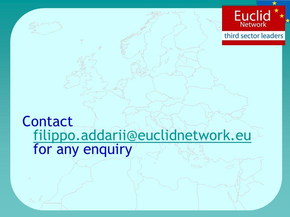 Contact filippo.addarii@euclidnetwork.eu for any enquiry filippo.addarii@euclidnetwork.eu