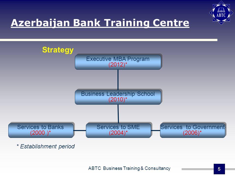ABTC Business Training & Consultancy 5 Azerbaijan Bank Training Centre Executive MBA Program (2012)* Executive MBA Program (2012)* Business Leadership School (2010)* Business Leadership School (2010)* Services to Banks (2000 )* Services to Banks (2000 )* Services to SME (2004)* Services to SME (2004)* Services to Government (2006)* Services to Government (2006)* * Establishment period Strategy
