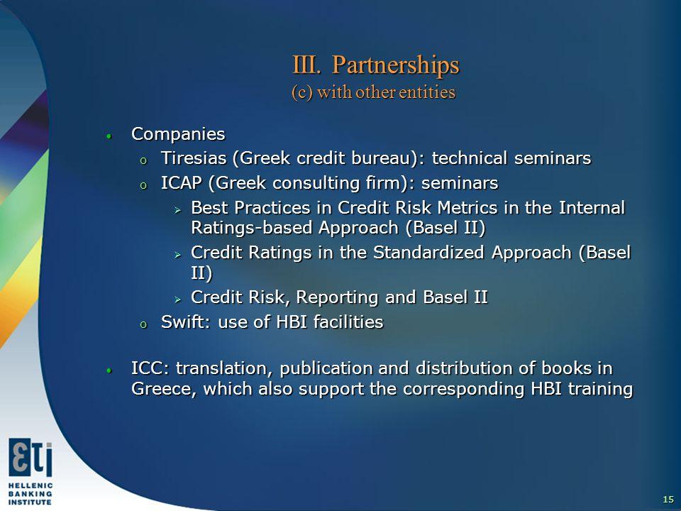 15 ΙΙI. Partnerships (c) with other entities ΙΙI.