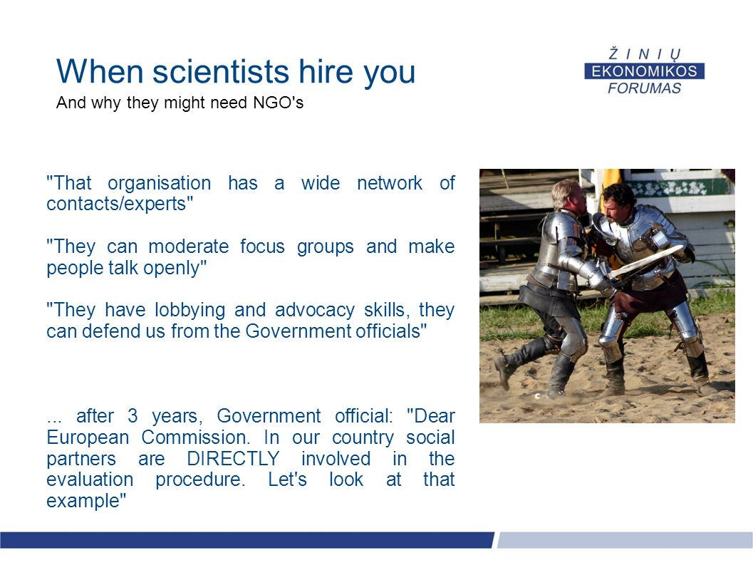 When scientists hire you And why they might need NGO's