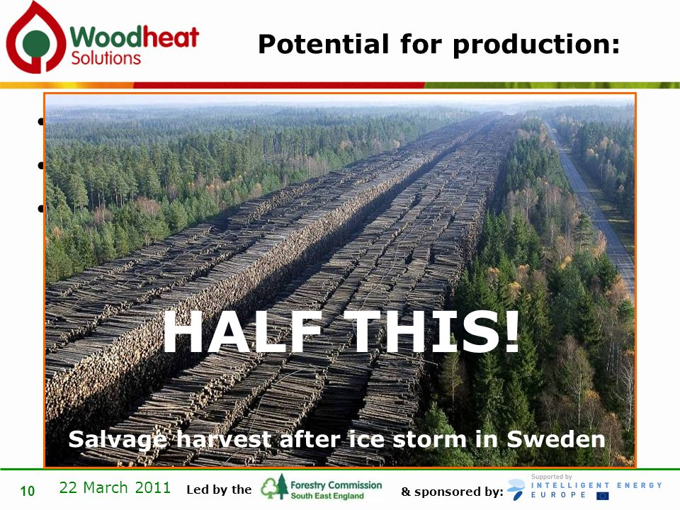 & sponsored by: Led by the 22 March 2011 10 Potential for production: 270,000 ha All could grow at > 4m 3 per ha per year = > 1,000,000 m 3 per year Salvage harvest after ice storm in Sweden HALF THIS!