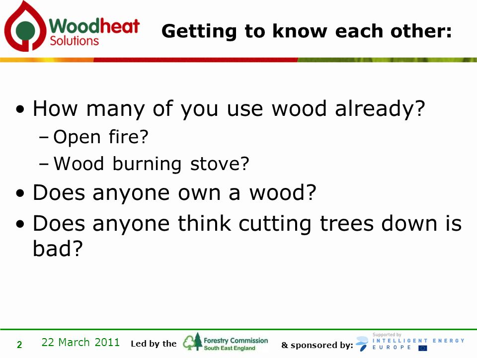 & sponsored by: Led by the 22 March 2011 3 What I plan to cover: What is Woodheat Solutions Review the carbon cycle Woodland resource in SE England What was happening prior to WhS How is the woodfuel evolving in SE England Key lessons from WhS Exemplar woodfuel installations in SE England Woodfuel Standards What next?