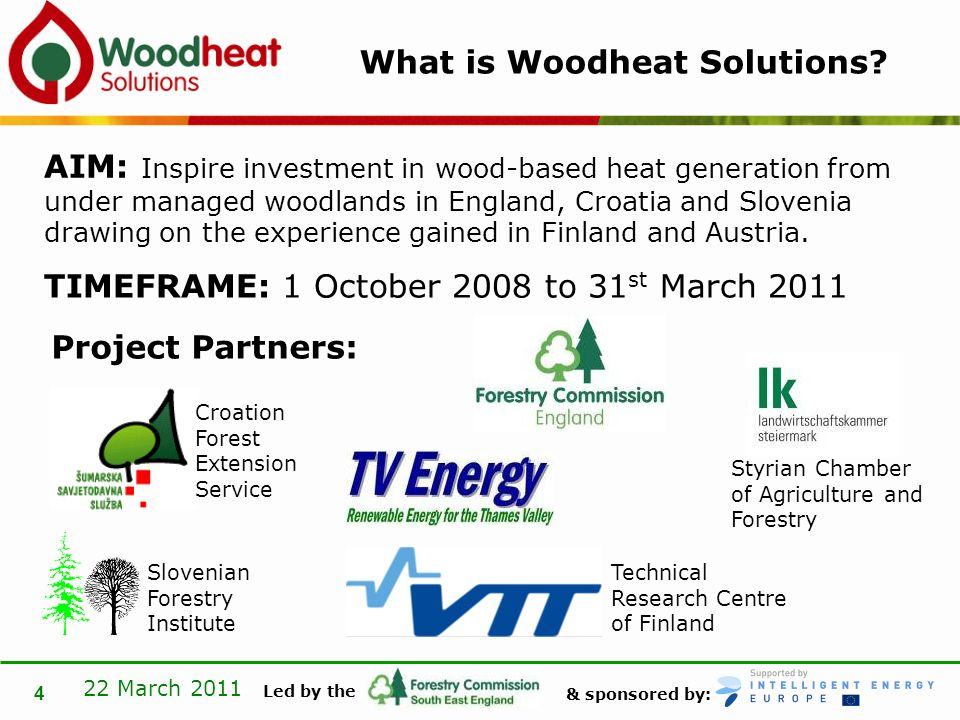 & sponsored by: Led by the 22 March 2011 4 What is Woodheat Solutions.