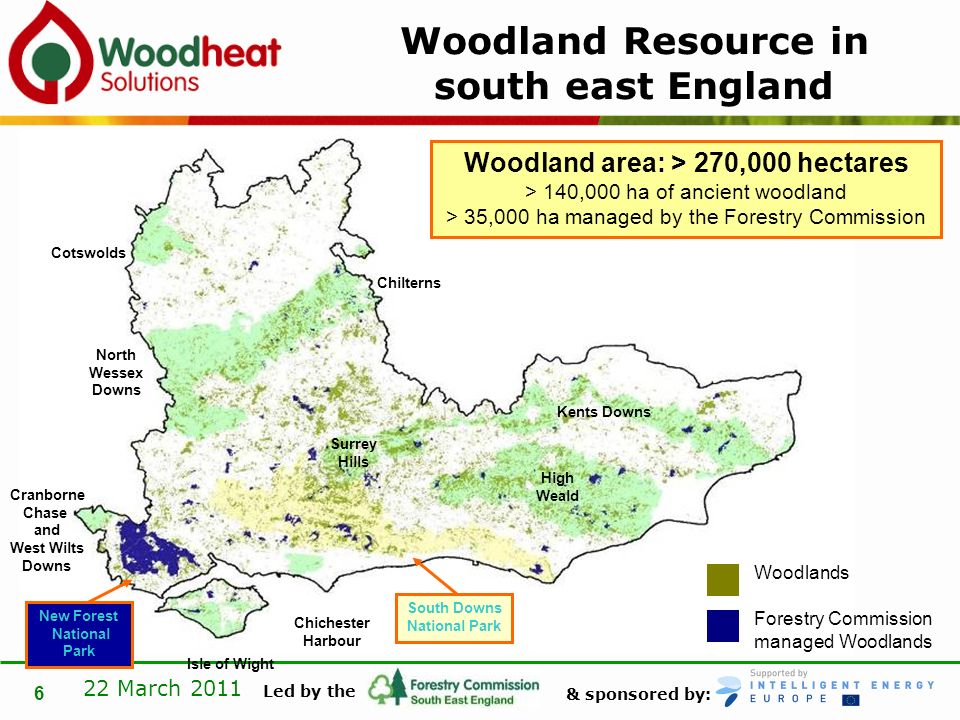 & sponsored by: Led by the 22 March 2011 7 Comparison to rest of England RegionWoodland Area% Woodland Cover % of Englands total woodland South East270,00014.124.6 South West212,0008.919.3 East England139,0007.312.7 North East103,00012.09.4 West Midlands99,0007.69.0 North West96,0006.88.8 Yorkshire & the Humber 92,0006.08.4 East Midlands80,0005.17.3 London6,0003.90.5 TOTAL1,097,0008.4100