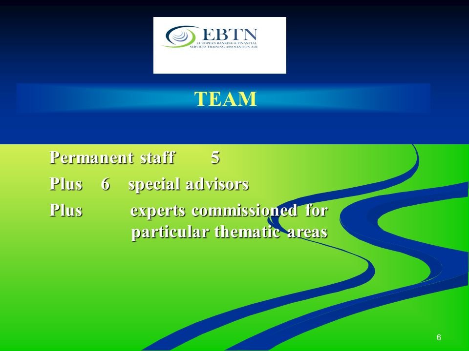 6 TEAM Permanent staff 5 Plus 6 special advisors Plus experts commissioned for particular thematic areas particular thematic areas