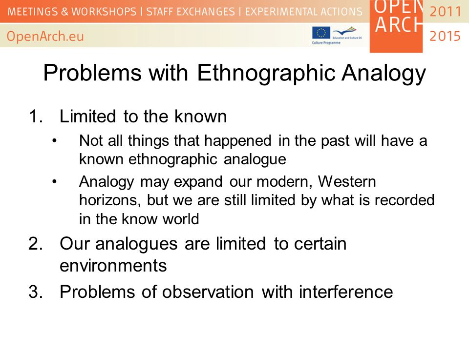 Problems with Ethnographic Analogy 1.Limited to the known Not all things that happened in the past will have a known ethnographic analogue Analogy may expand our modern, Western horizons, but we are still limited by what is recorded in the know world 2.Our analogues are limited to certain environments 3.Problems of observation with interference