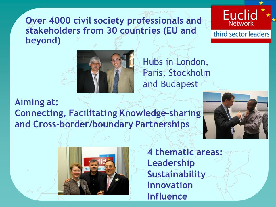 Over 4000 civil society professionals and stakeholders from 30 countries (EU and beyond) Hubs in London, Paris, Stockholm and Budapest Aiming at: Connecting, Facilitating Knowledge-sharing and Cross-border/boundary Partnerships 4 thematic areas: Leadership Sustainability Innovation Influence