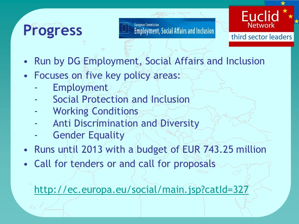 Progress Run by DG Employment, Social Affairs and Inclusion Focuses on five key policy areas: -Employment -Social Protection and Inclusion -Working Conditions -Anti Discrimination and Diversity -Gender Equality Runs until 2013 with a budget of EUR 743.25 million Call for tenders or and call for proposals http://ec.europa.eu/social/main.jsp catId=327 http://ec.europa.eu/social/main.jsp catId=327