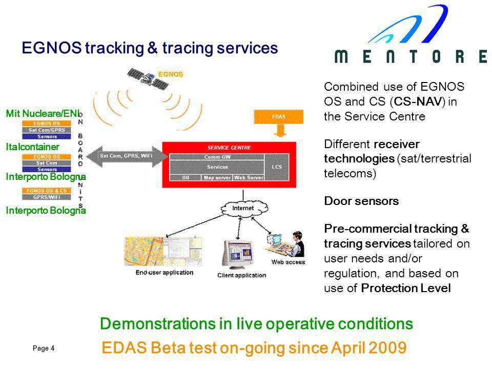 Page 4 Combined use of EGNOS OS and CS (CS-NAV) in the Service Centre Different receiver technologies (sat/terrestrial telecoms) Door sensors Pre-comm