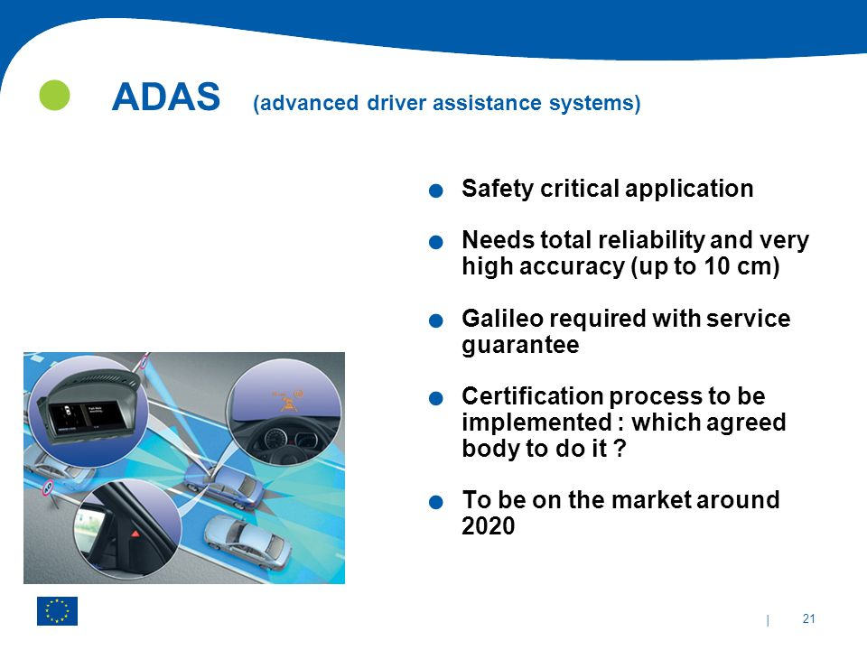 | 21 ADAS (advanced driver assistance systems). Safety critical application. Needs total reliability and very high accuracy (up to 10 cm). Galileo req