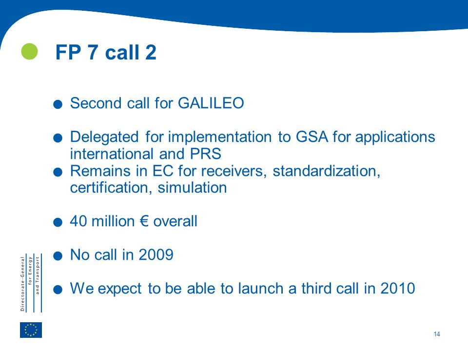 14 FP 7 call 2. Second call for GALILEO.