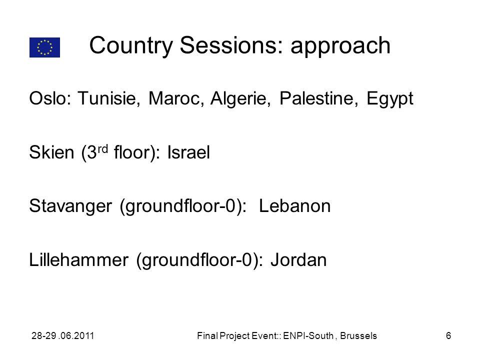 Country Sessions: approach Oslo: Tunisie, Maroc, Algerie, Palestine, Egypt Skien (3 rd floor): Israel Stavanger (groundfloor-0): Lebanon Lillehammer (groundfloor-0): Jordan 28-29.06.2011Final Project Event:: ENPI-South, Brussels6