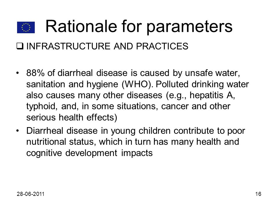 Rationale for parameters INFRASTRUCTURE AND PRACTICES 88% of diarrheal disease is caused by unsafe water, sanitation and hygiene (WHO). Polluted drink