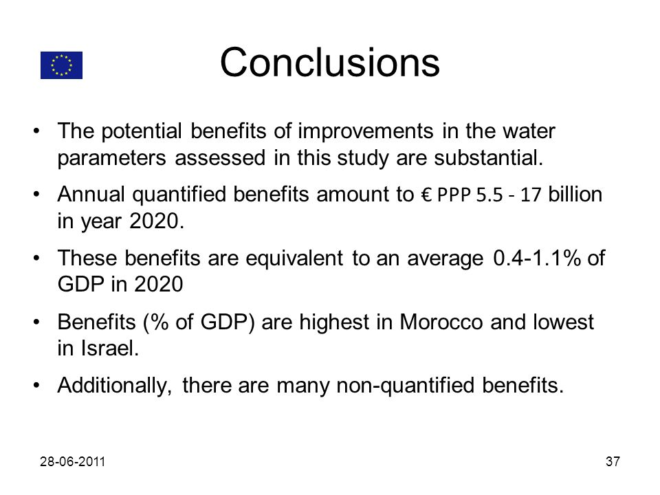 Conclusions The potential benefits of improvements in the water parameters assessed in this study are substantial. Annual quantified benefits amount t