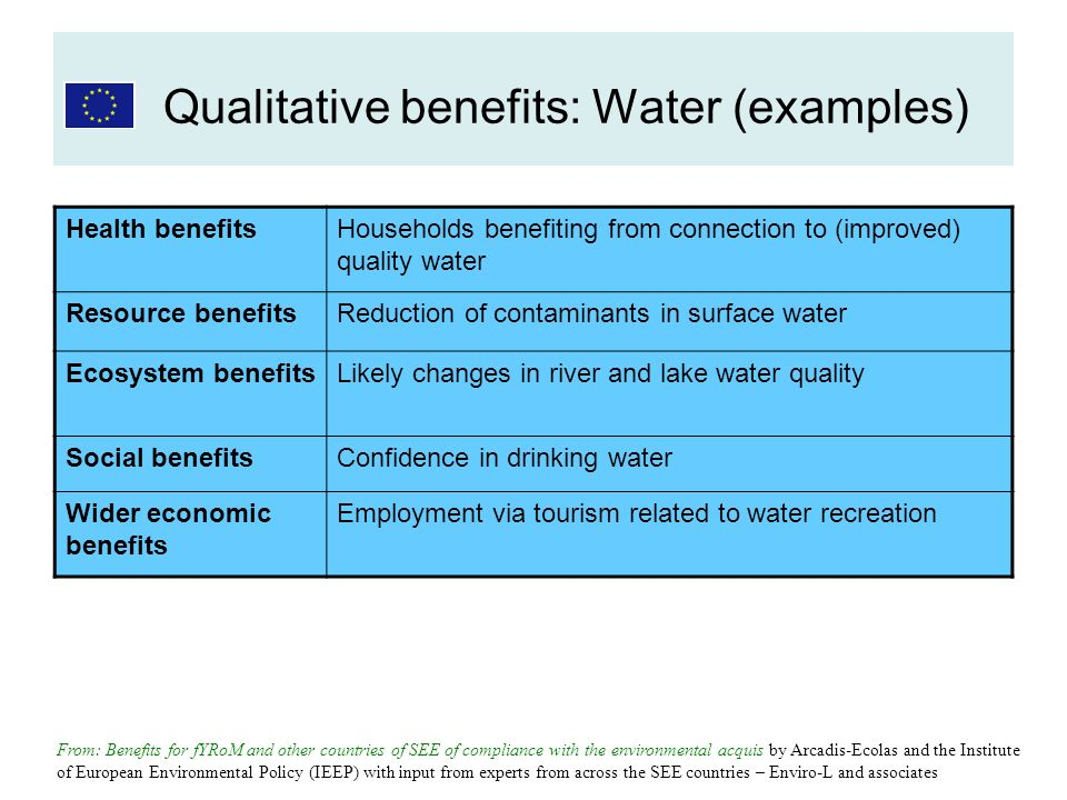 Health benefitsHouseholds benefiting from connection to (improved) quality water Resource benefitsReduction of contaminants in surface water Ecosystem