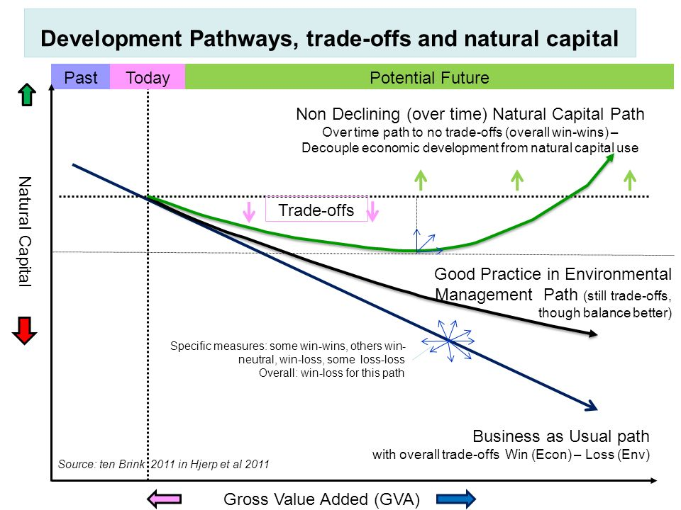 Gross Value Added (GVA) Natural Capital Business as Usual path with overall trade-offs Win (Econ) – Loss (Env) Development Pathways, trade-offs and na